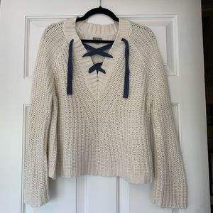 Aerie Cream Lace Up Sweater